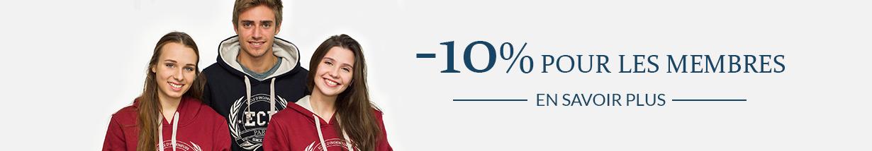Cotisez à Alumni ECE et bénéficiez de 10% de réduction minimum sur toute la boutique